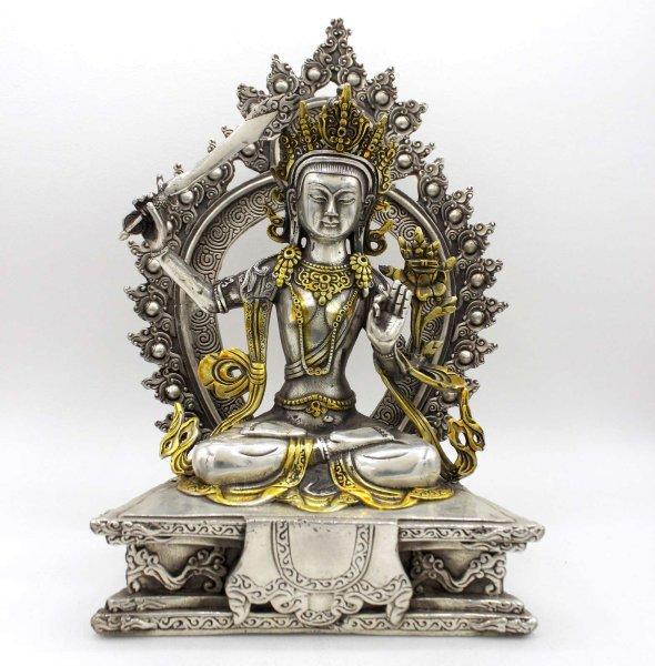 Buddha Figur Manjushri (26cm) Buddhistische Bronze Statue