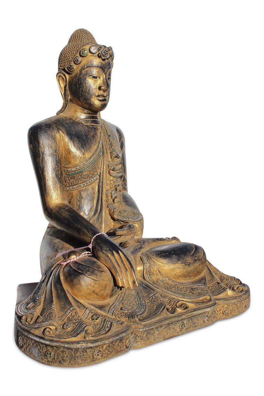 Buddha statue aus holz sitzender mandalay buddha aus teakholz for Buddha statue holz