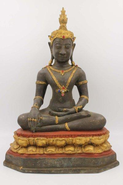 Siddharta Buddha Figur aus Bronze, Burma