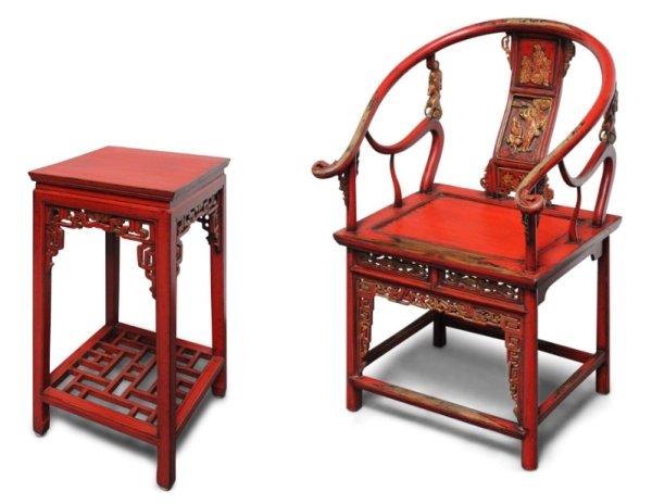 China Möbel Set, Stuhl und Tisch in Rot
