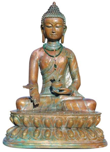Große Medizin Buddha Statue, Bronze