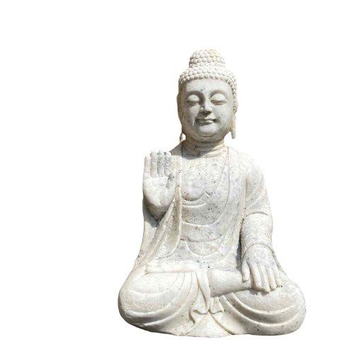 Garten Buddha Statue mit Schutz Gestus 53cm groß - Marmor