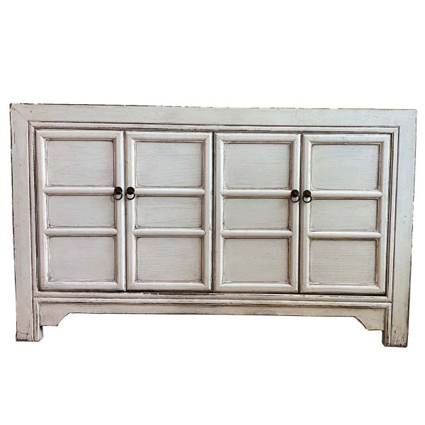 Asiatische Holz Kommode - Sideboard in Weiß