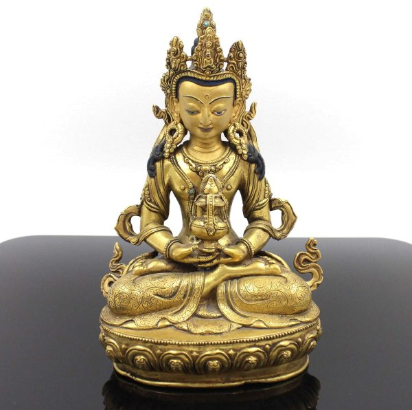 Nepal Amitayus Buddha Figur (23cm) 24 K Feuervergoldet