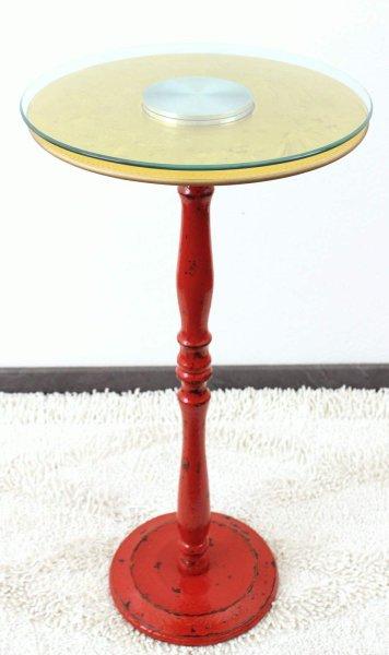 Massivholz Tisch mit Drehteller aus Glas