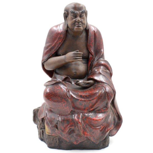 Glasierte Arhat Keramik Figur (38cm) Porzellan Skulptur