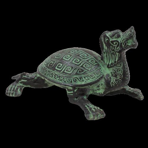 Drachen Schildkröte China Figur (14cm) Zink Tier Glücksbringer