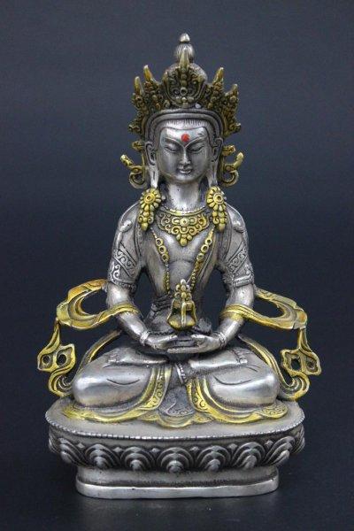 Amitayus Buddha aus China, Bronzefigur