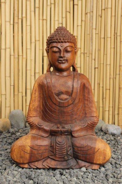 Amitabha Holz Buddha Figur in Meditationsgeste
