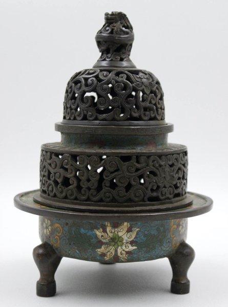 Bronze Räuchergefäß mit Drache, Cloisonne