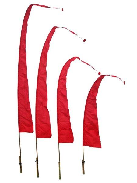 Balifahne in Rot mit herzförmiger Spitze, Umbulfahne
