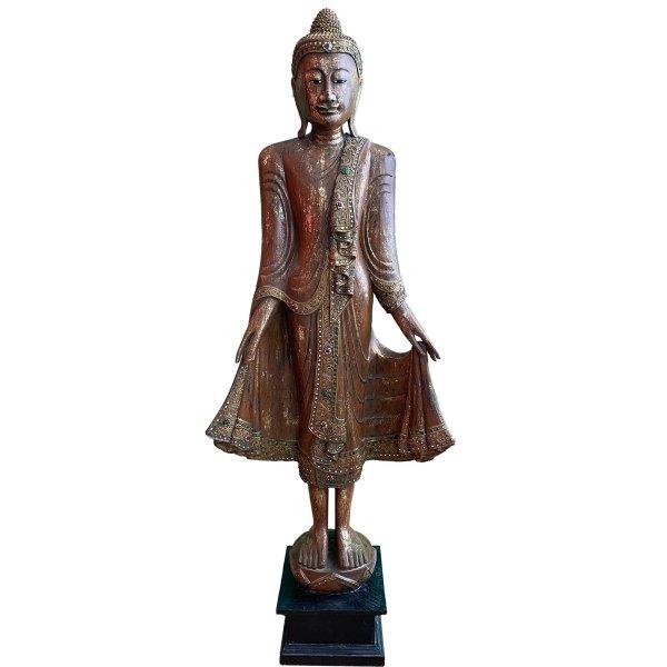Thailändische Buddha Statue (144cm) Stehende Holz Figur