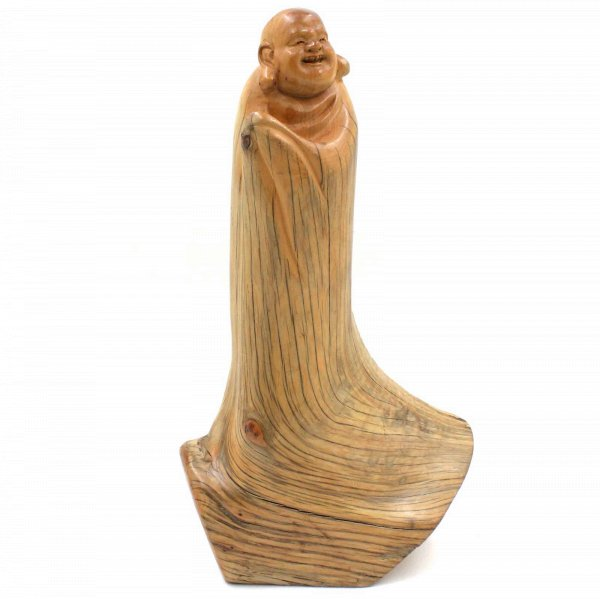 Glücksbuddha Zedern Holz (29cm) Hotai Buddha Figur