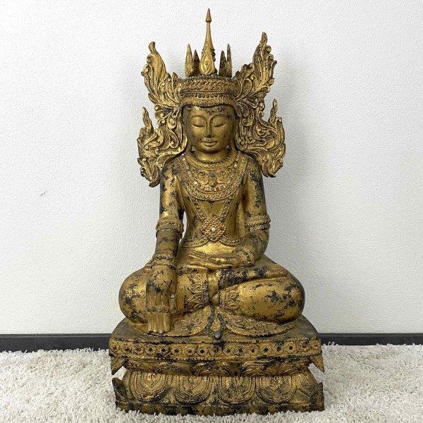 Gekrönter Mandalay Siddharta Buddha (94cm) Burma Statue
