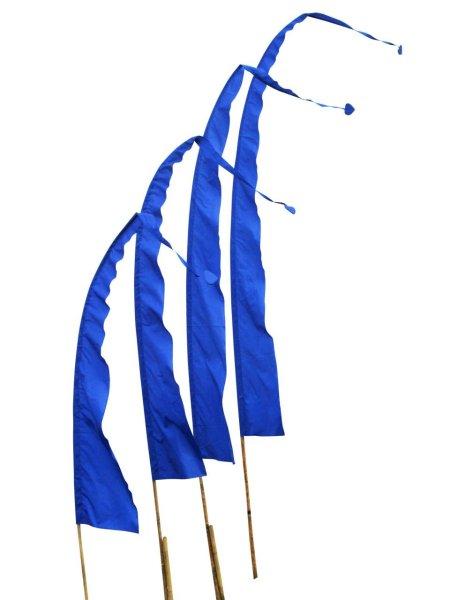Balifahne in Blau mit herzförmiger Spitze, Umbulfahne