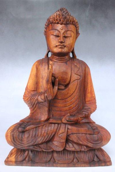 Holz Buddha Statue mit lehrender Geste