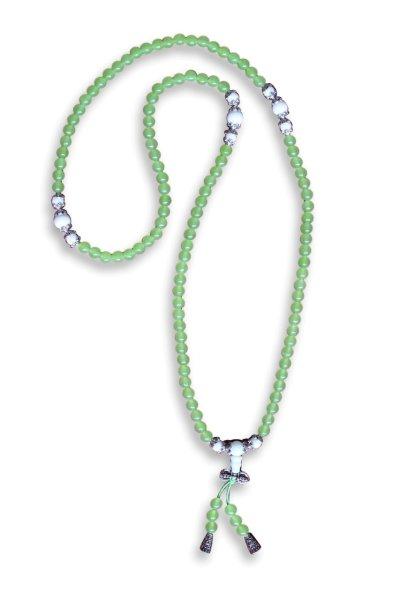 Buddhistische Halskette Mala, grüner Achat mit Dorje
