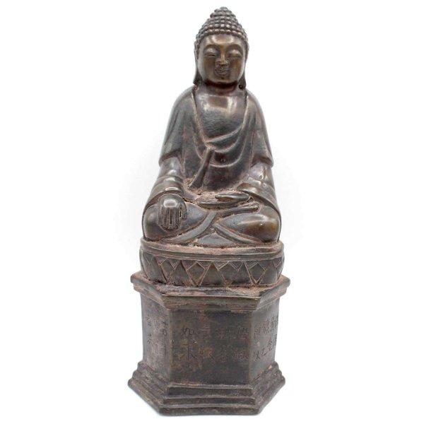 Siddharta Buddha Figur (26cm) mit Schriftzeichen