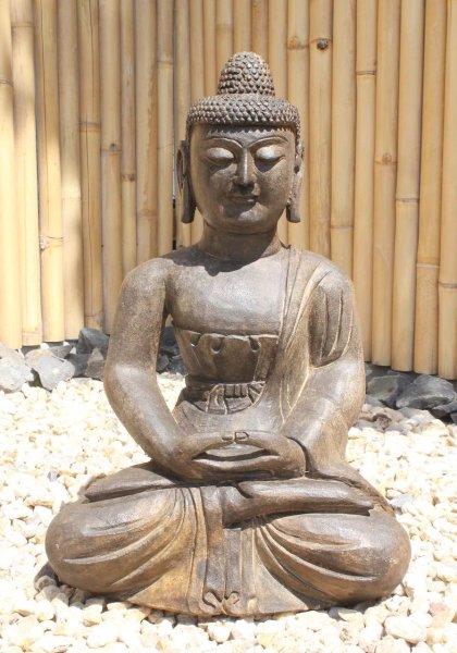 Garten Buddha Statue aus Naturstein - 62 cm groß