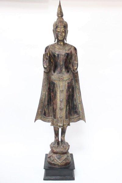 199cm große Buddha Statue - Holz - Thailand