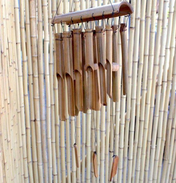 Garten Windspiel Bambus (80cm) Holz Klangspiel