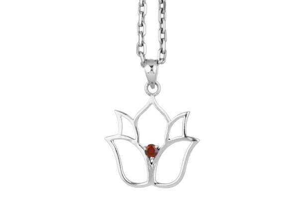 Lotusblume Silber Anhänger mit Granat