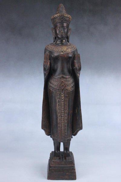 Stehende Buddha Holz-Figur aus Burma