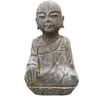 Naturstein Mönch Statue (45cm) Garten Figur