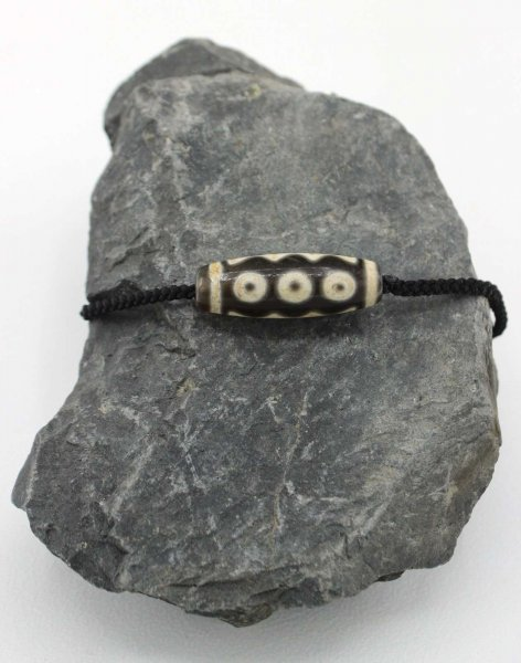 Dzi Stein Halskette mit 5 Augen - Tibetischer Glücksbringer