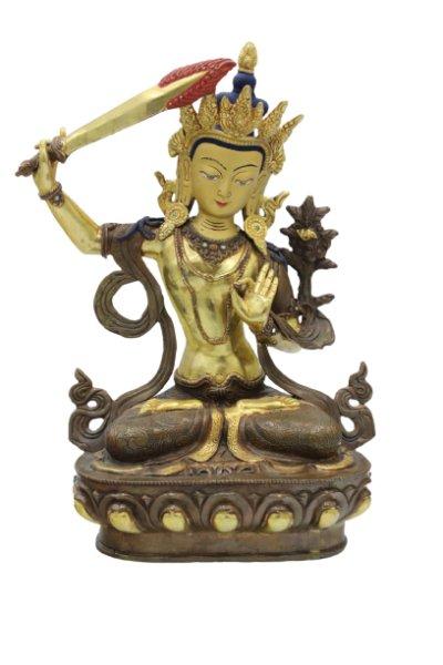 Manjushri Buddha Figur Bronze - 24 K Feuervergoldet