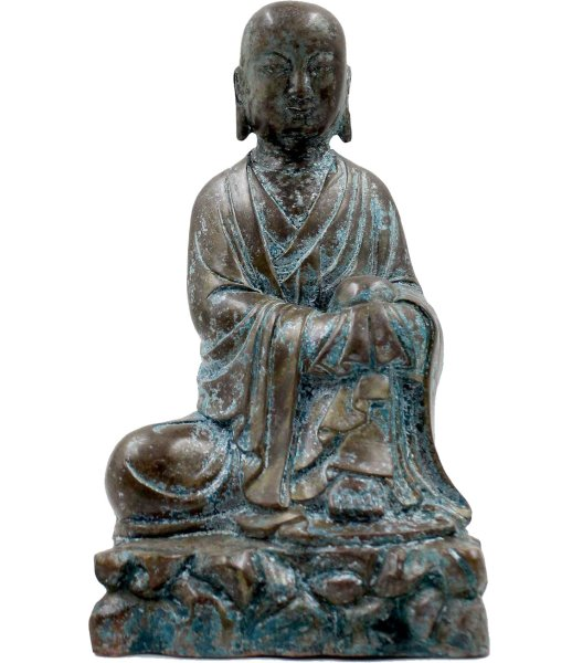 Tibetischer Mönch auf Fels, Bronze