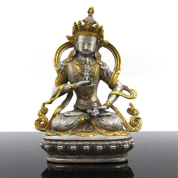 Vajrasattva Buddha Figur (22cm) Bronze Statue mit Dorje