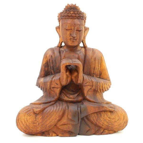 Holz Buddha Figur mit Yoga Mudra