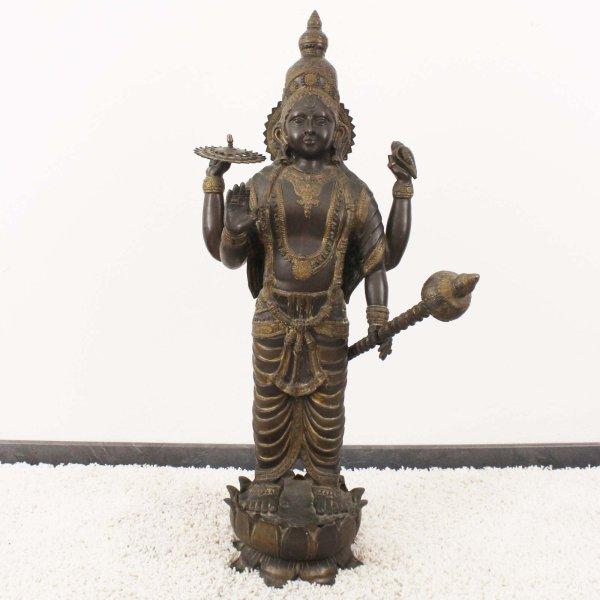 Alte Vishnu Statue (107cm) aus Bronze - Sammlerstück