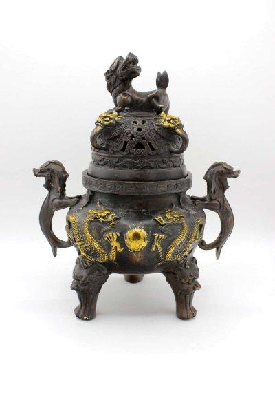 Chinesisches Drachen Räuchergefäß (28cm) Goldlack Bronze Topf