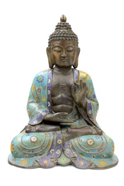 Cloisonné Buddha Figur (42cm) Karana Mudra Statue