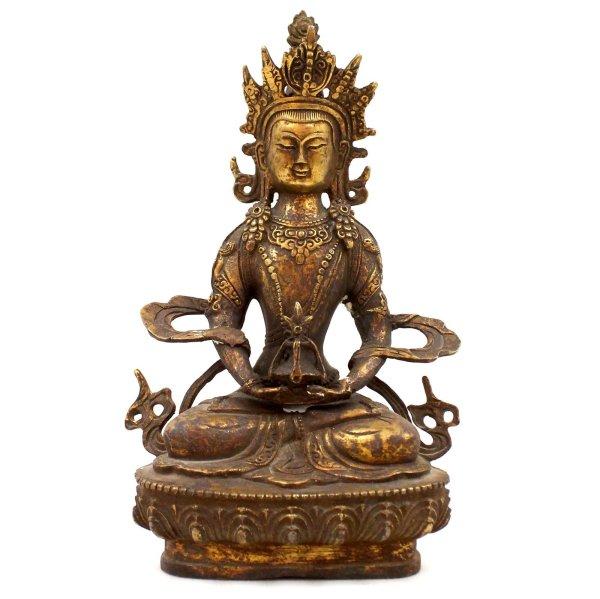 Amitayus Buddha Figur Bronze (21,5cm) Bodhisattva Ambrosia Vase