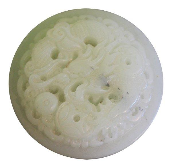 Drachen Gürtelschnalle aus einer Art Jade Stein