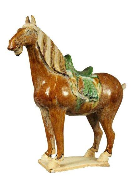 31cm großes, chinesisches Tang Pferd mit Sattel