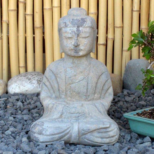 Chinesischer Garten Amitabha Buddha (31cm) Naturstein Statue