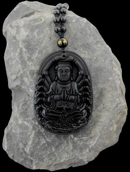 Chenrezig Buddha Anhänger Black Obsidian Halskette + Schmuckbeutel