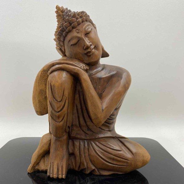 Ruhende Buddha Figur aus Holz 31cm groß