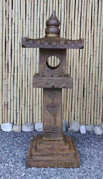 Asiatische Steinlaterne 105cm in Holzoptik gefinisht