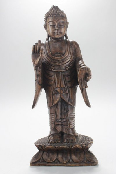 Amoghasiddhi Buddha Figur, Holz