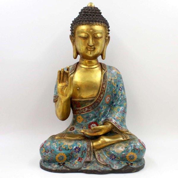 Buddha Figur mit Karana Mudra (45cm) Bronze