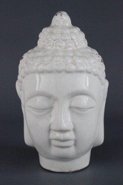 Buddha Kopf aus weißem Porzellan