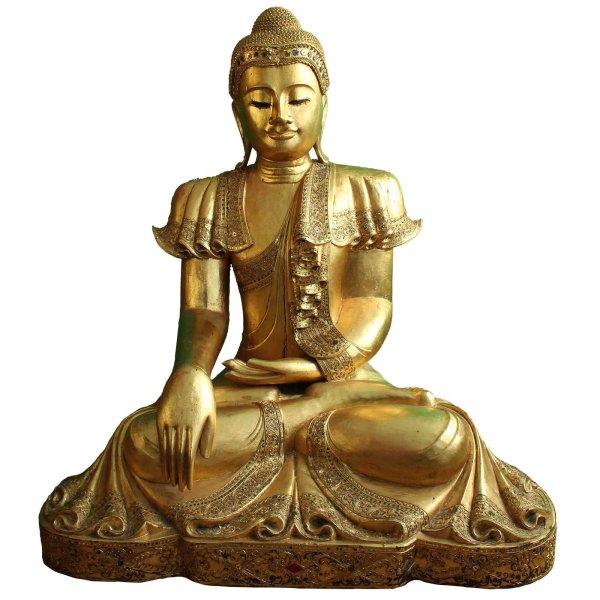 126cm große Holz Buddha Figur - blattvergoldet Thailand