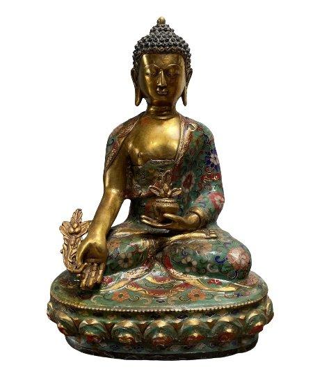 Medizin Buddha Figur Bronze (32,5cm) Cloisonné Statue