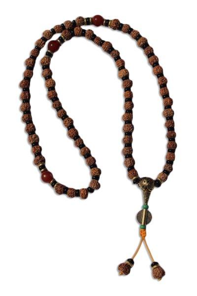 Buddhistische Halskette mit Rudraksha Samen