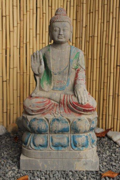 Garten Buddha Figur mit Schutz Geste 80cm groß